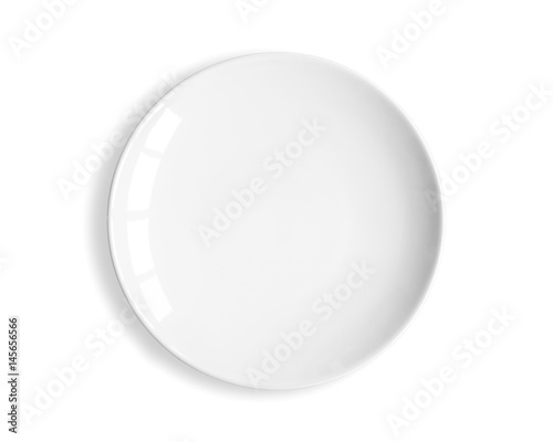 Top view of blank white dish on a white background. Wallpaper Mural
