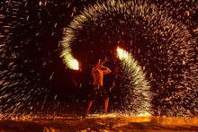 Fire Dancing Shows At Night On The Beach, Samed Island, Rayong, Thailand.Amazing Fire Show On The Beach.Fire Boy Show At Koh Samed.