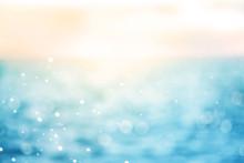 Blur Beautiful Shiny Sparkling  Tropical Blue Sea Beach , The Fresh Summer Background .