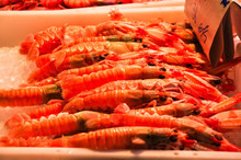 Royal Shrimps In A Tray With Ice. Fish Market In Barcelona, Spain