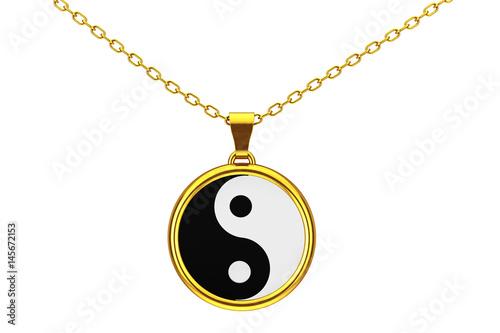 Plakat Yin Yang Symbol harmonii i równowagi Złoty Coulomba. Renderowanie 3D