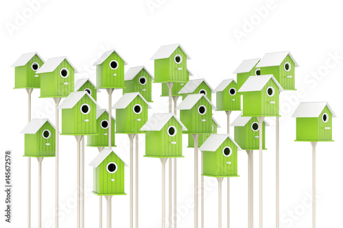 Canvas Print Many Little Wooden Olive Birdhouses. 3d Rendering