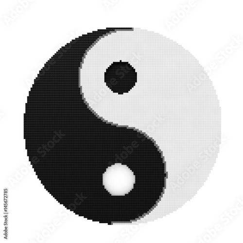 Plakat Yin Yang Symbol harmonii i równowagi w Pixel Art Style. Renderowanie 3D