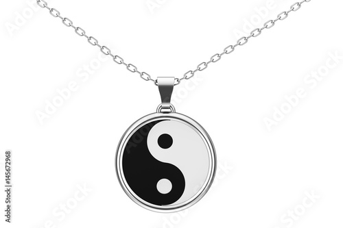 Plakat Yin Yang Symbol harmonii i równowagi Srebrny kulomb. Renderowanie 3D