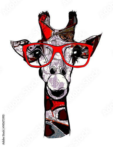 Foto auf Leinwand Art Studio Giraffe with sunglasses