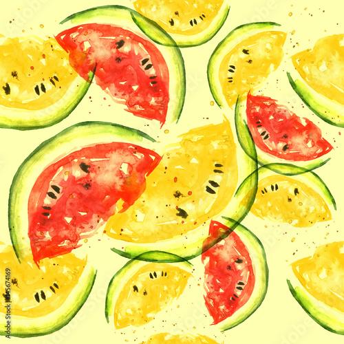 bezszwowy-akwarela-wzor-z-kawalkiem-czerwony-i-zolty-arbuz-rocznika-jaskrawy-rysunek-aktualna-owoc-na-jasnozoltym-tle