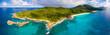 canvas print picture - Panorama: Luftaufnahme von La Digue, Seychellen, und seiner Grand Anse