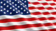 American flag waving in the wind. 3D illustration, close-up