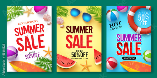 Obraz Summer sale vector poster set with 50% off discount text and summer elements in colorful backgrounds for store marketing promotion. Vector illustration. 