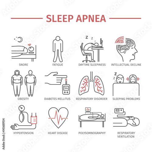 Photo Sleep Apnea. Line icons set.