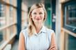 canvas print picture - Business-Portrait von blonder, lächelnder Frau
