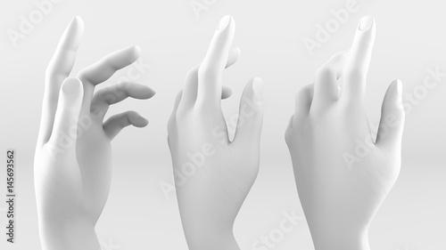 Fotografia, Obraz  White hand on a white background. 3d image, 3d rendering.