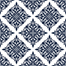 Floral Seamless Pattern Of Blue Damask Ornament On White Background With Diamond Shaped Flower And Leaf Compositions. Wallpaper, Tile And Interior Accessory Design
