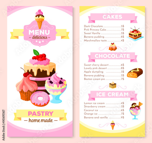 Pastry And Homemade Dessert Cakes Menu Template Vector Price List For Biscuits Cupcakes Chocolate Ins Cheesecake Tiramisu Brownie Tortes