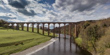 View Of Leaderfoot Viaduct From The River Tweed, In The Scottish Borders