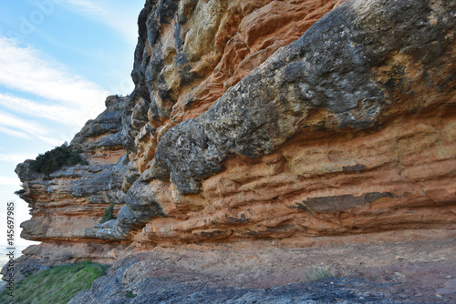 Fotografering  Conglomerate sedimentary rock of Salto de Roldan in Aragon