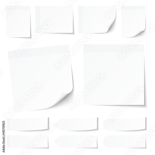 Fotografie, Obraz  White Stick Notes Collection