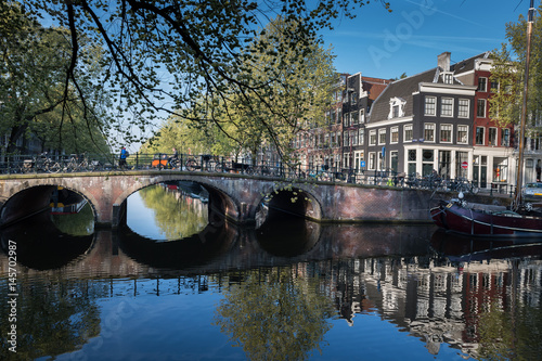 Spring sunshine on Brouwersgracht canal, Amsterdam Canvas Print