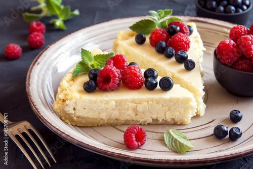 Fotografie, Obraz  Homemade cheesecake with fresh berries