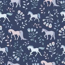 Seamless Pattern, Fairy Horses...