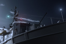 Military Or Coast Guard Border Control Patrol Army Ship At Night