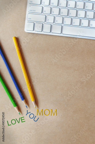 Happy mother day words on blue book, holiday and event concept and mother day id Wallpaper Mural