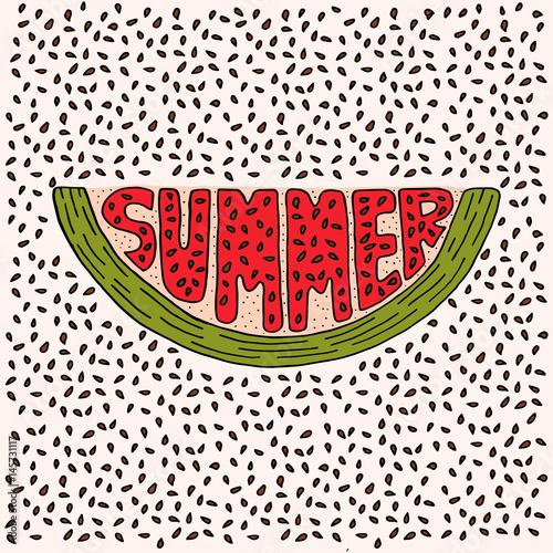 Obrazy wieloczęściowe ilustracja arbuza z napisem lato