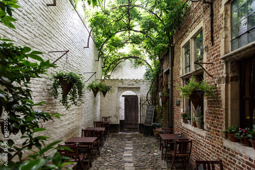 Foto op Canvas Antwerpen Sixteenth Century Alley in Antwerp