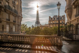 Fototapeta Na drzwi - Romantic street view with Eiffel Tower in Paris, France
