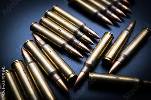 Photo  5.56  rounds on black background
