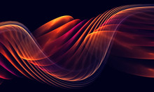 Abstract Smooth Links Of A Wave On The Black Background For Art Projects, Business, Banner, Template, Card