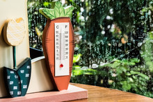 Thermometer At Window, Rainy Time And Weather Change