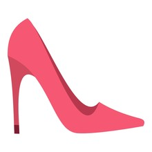 Pink High Heel Shoe Icon Isolated