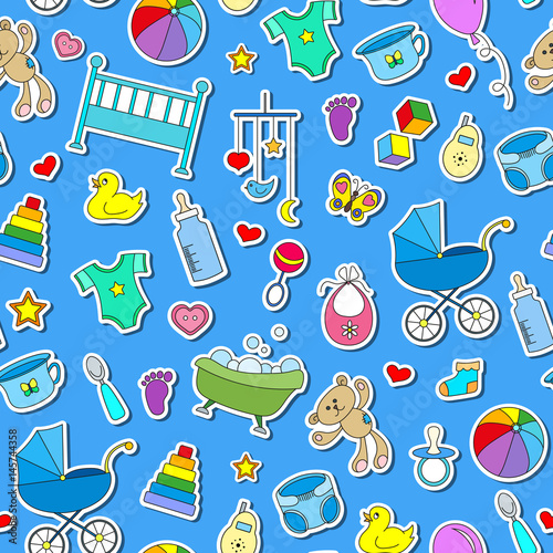 d8ca7e2cb Seamless pattern on the theme of childhood and newborn babies