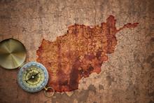 Map Of Afghanistan On A Old Vintage Crack Paper