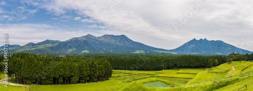 Panorama view of Mount Aso volcano in Kumamoto, Kyushu, Japan Wallpaper Mural