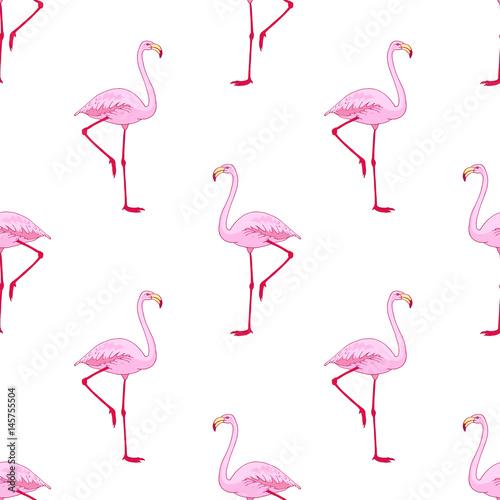 Canvas Prints Flamingo Bird Vector pink flamingo bird seamless pattern. Hand drawn sketch with the wild animal