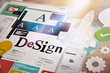 canvas print picture - Design concept for graphic designers and design agencies services. Concept for web banners, internet marketing, printed material, presentation templates.