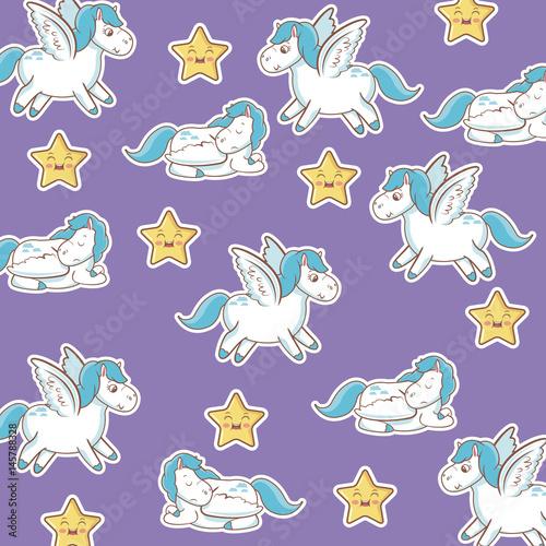 Stoffe zum Nähen Einhorn mit Flügeln Sterne Kawaii Musterdesign lila Hintergrund Vektor-illustration