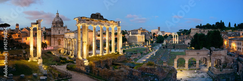 In de dag Rome Rome Forum night panorama