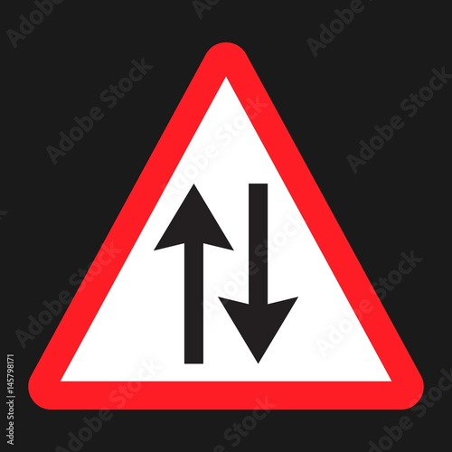 Two way traffic sign flat icon, Traffic and road sign, vector graphics, a solid Tapéta, Fotótapéta
