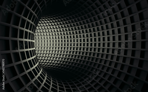 Fototapety, obrazy: Abstract 3d black geometric background. White texture with shadow. 3D render