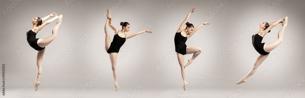 Photo  Collage of beautiful ballet dancer on color background