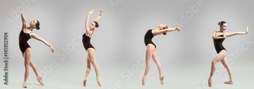 Collage of beautiful ballet dancer on gray background Canvas Print