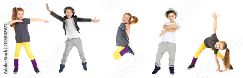 plakat Cute funny girl dancing on white background