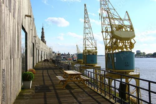 Tuinposter Antwerpen Alte Ladekräne im Hafen von Antwerpen