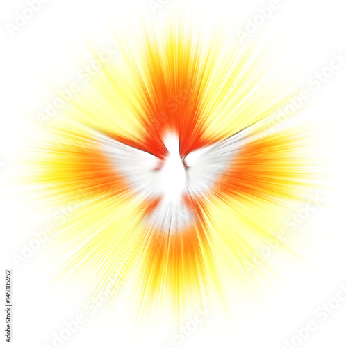 Holy Spirit, Pentecost or Confirmation symbol with a dove, and bursting rays of flames or fire. Abstract modern religious digital illustration background Wall mural