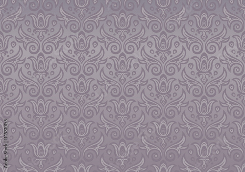 Fototapety, obrazy: Seamless ornament gray purple color of the flowers and drops