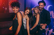 canvas print picture - Group of friends dancing at disco club