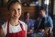 canvas print picture - Smiling waitress at restaurant